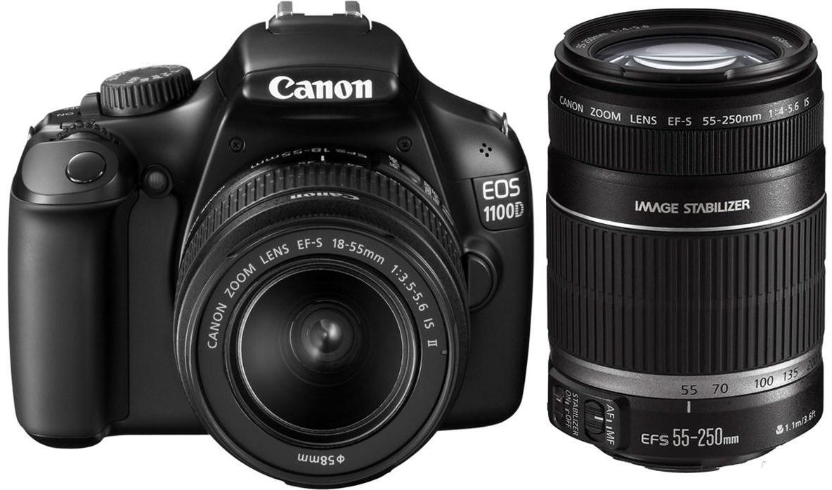 Canon EOS 1100D SLR Kit EF S18 55mm IS II Amp 55 250mm IS