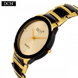 DCH Oval Dial Black,Gold Metal Strap Analog Men's Watch With 1 Year Warranty by MISS