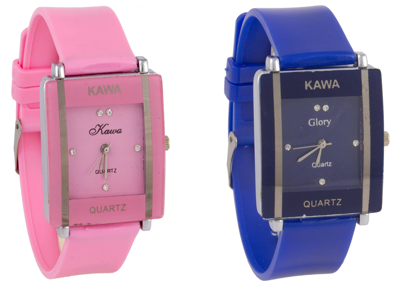 Glory Combo Of Two Watches-Baby Pink  Blue Rectangular Dial Kawa Watch For Women by  miss