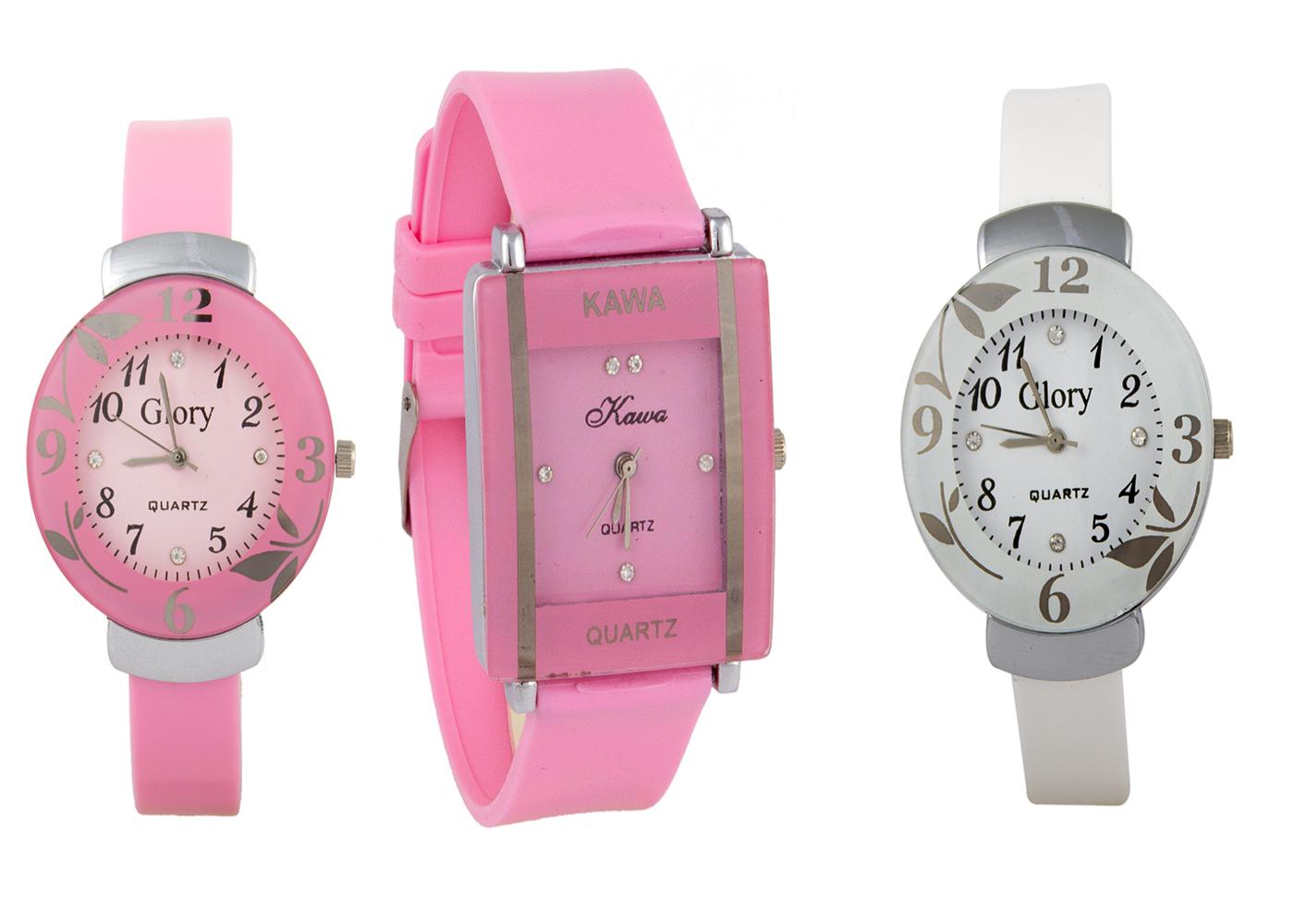 Glory Combo Of Three Watches- Pink And White Glory Pink Rectangular Dial Kawa Watch  by  miss