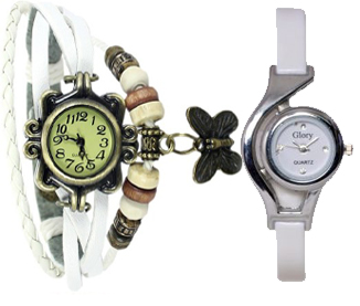 Fancy party ladies watch combo white by MISS