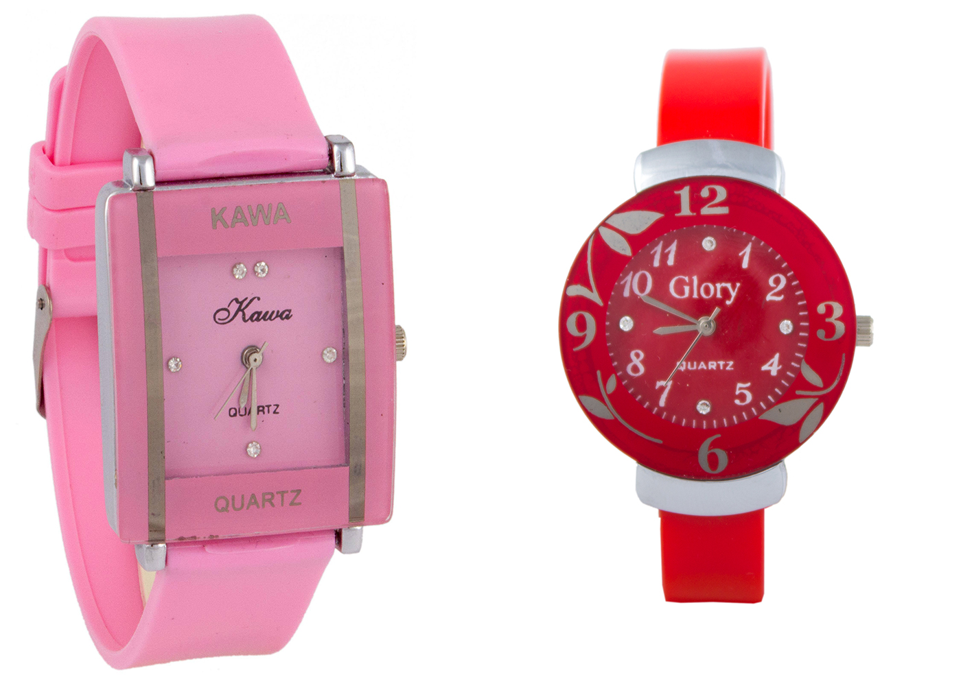 Glory  Combo Of Two Watches-Baby Pink Rectangular Dial Kawa And Red Circular Dial Watches by miss