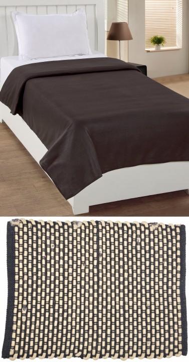 BSB Trendz Home furnishing Combo (1 Fleece Blanket+1 Door Mat)