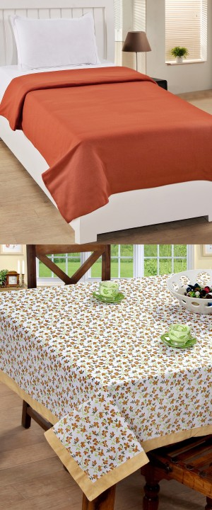 BSB Trendz Home Kitchen Combo (1 Table Cover+ 1 Fleece Blanket)