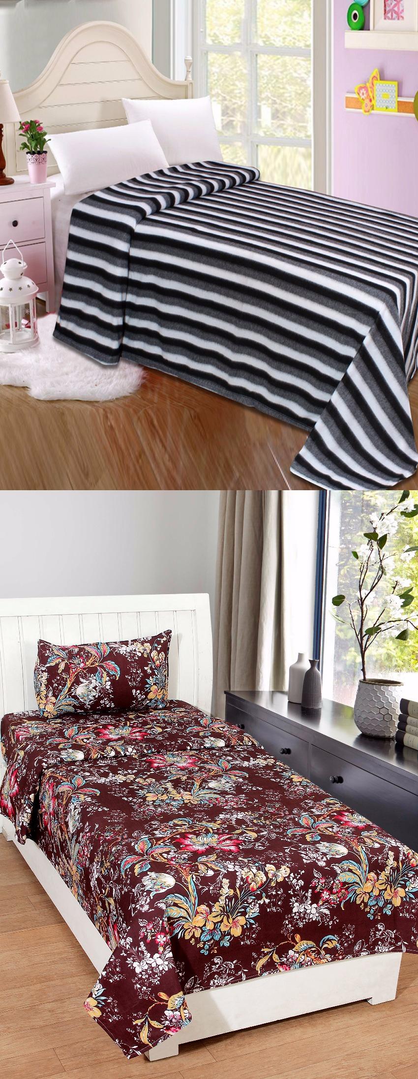 BSB Trendz Bedding Combo(1 Fleece Blanket+ 1 Bedsheet)