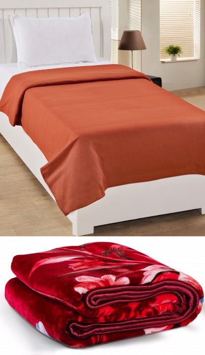 BSB Trendz Blanket Combo (1 Mink Blanket+ 1 Fleece Blanket)