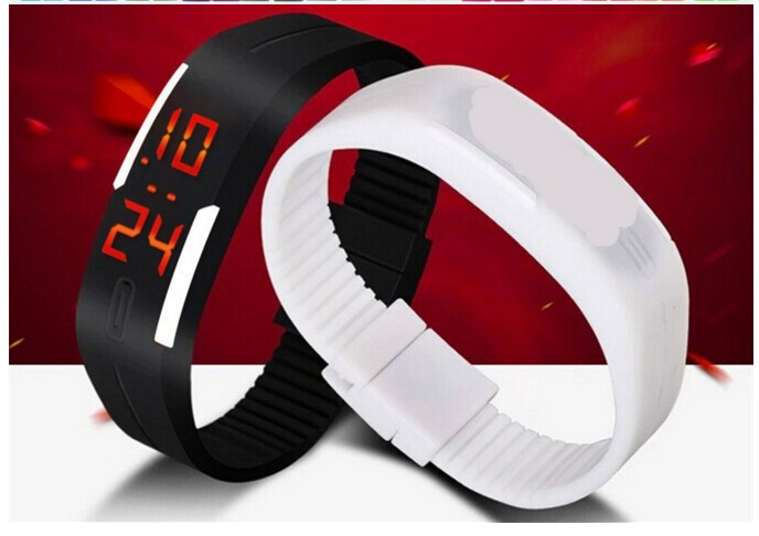 Casual Digital LED Band Watch for men kids women Combo Black-white BY MISS