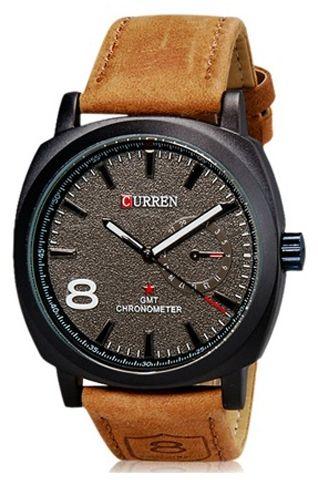 Curren Stylish Military Khaki Leather Strap Watch