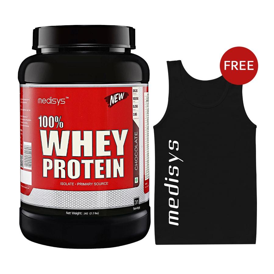 Medisys 100 Whey Protein - Chocolate - 1kg Free-Sando