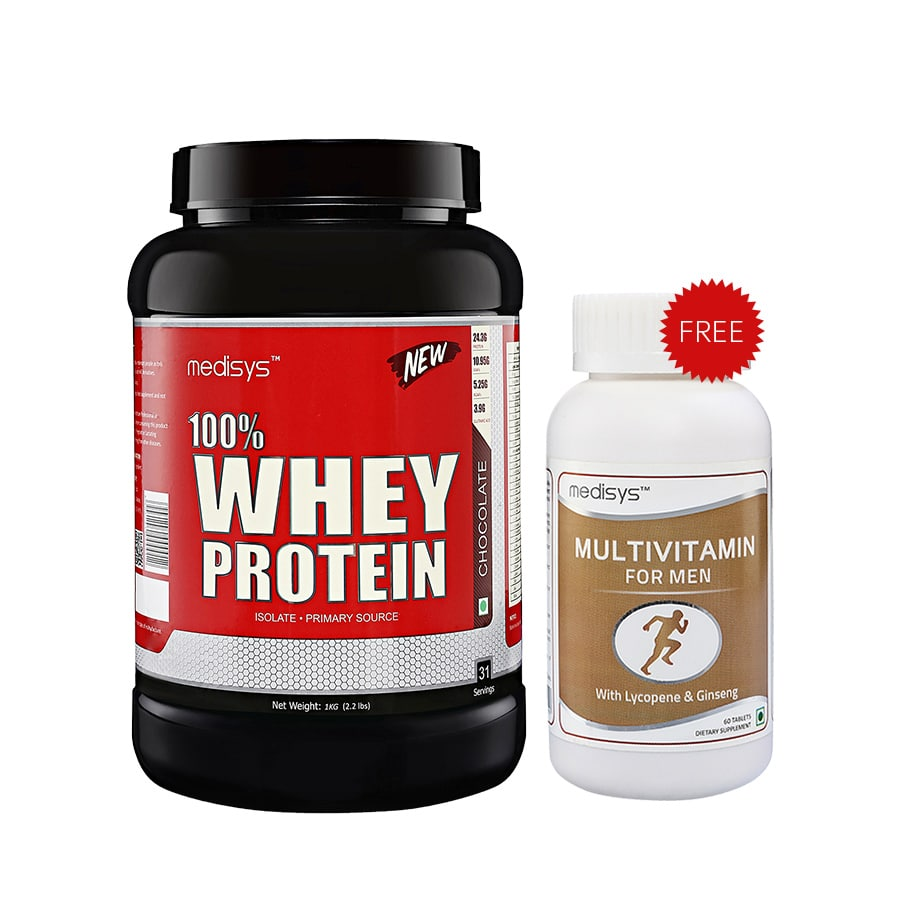 Medisys 100 Whey Protein - Chocolate - 1kg Free-Multivitamin