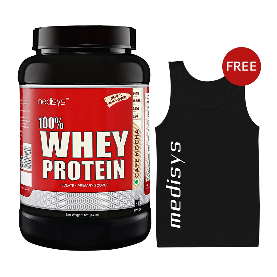 Medisys 100 Whey Protein - Cafe Mocha - 1Kg Free Sando