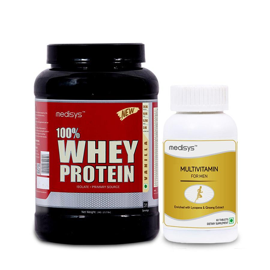 Medisys 100 Whey Protein - Vanilla - 1Kg Free Multivitamin