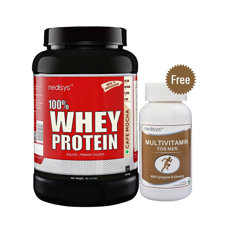 Medisys 100 Whey Protein - Cafe Mocha - 1Kg Free Multivitamin