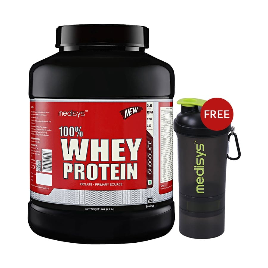 Medisys 100 Whey Protein - Chocolate - 2kg Free-Shaker