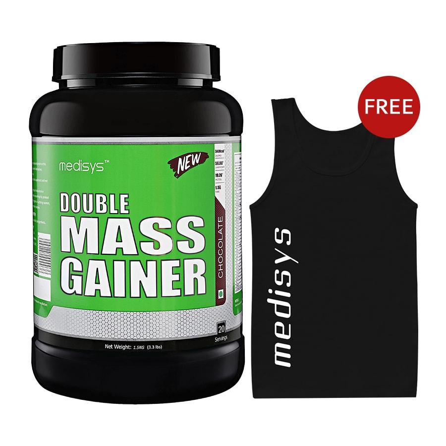 Medisys Double Mass Gainer -Chocolate 1.5kg Free Sando