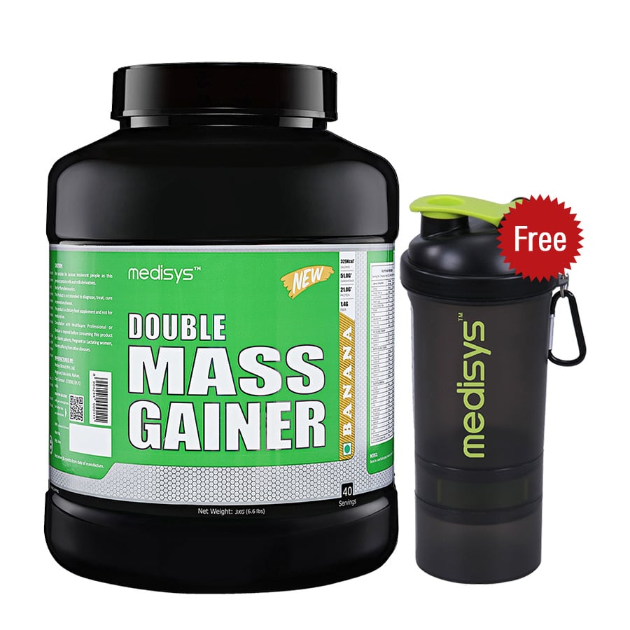 Medisys Double Mass Gainer - Banana - 3Kg Free-Shaker