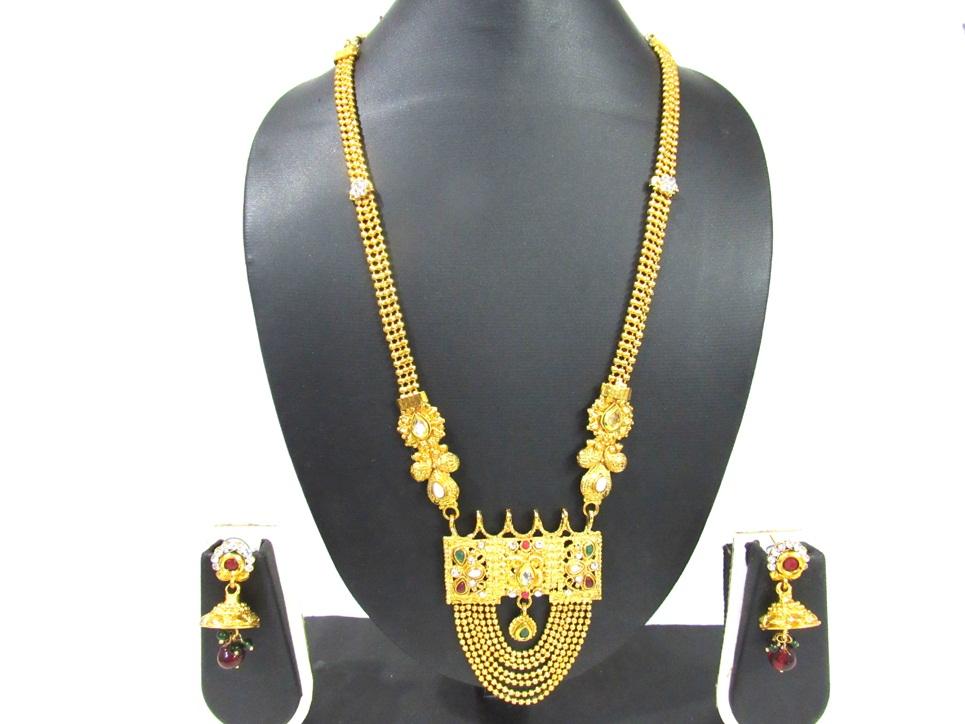 7 Line Golden Chain Pendant Necklace Set