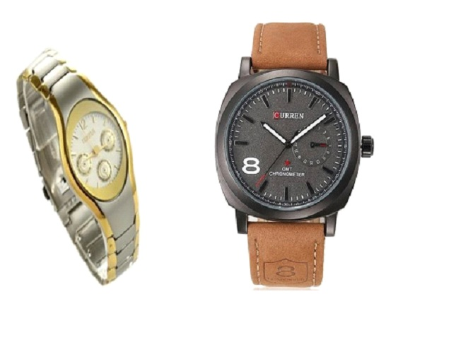 Curren Black Dial  Men And Rosra Gold - Silver Women  Couple Watches for Men and Women