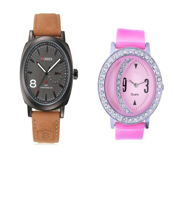 Curren Brown and Round Dial Dimond Moon Watches Couple For Men and Women