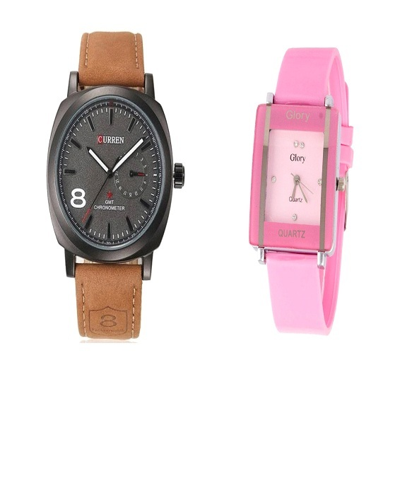Curren Brown and Pink Kawa Watches For Men and Women