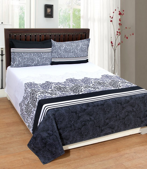 Portico New York Cadence Classic Bedsheet With 2 Pillow Covers
