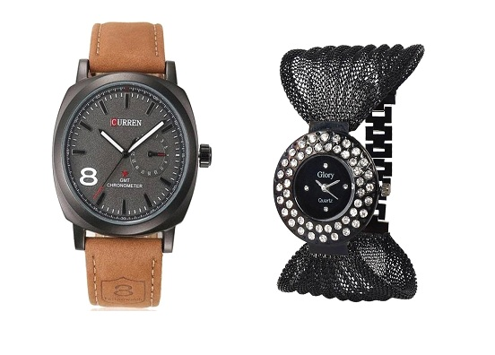 Curren Brown Black Dial  and Fency Black Dimond Zulla Watches For Men and Women