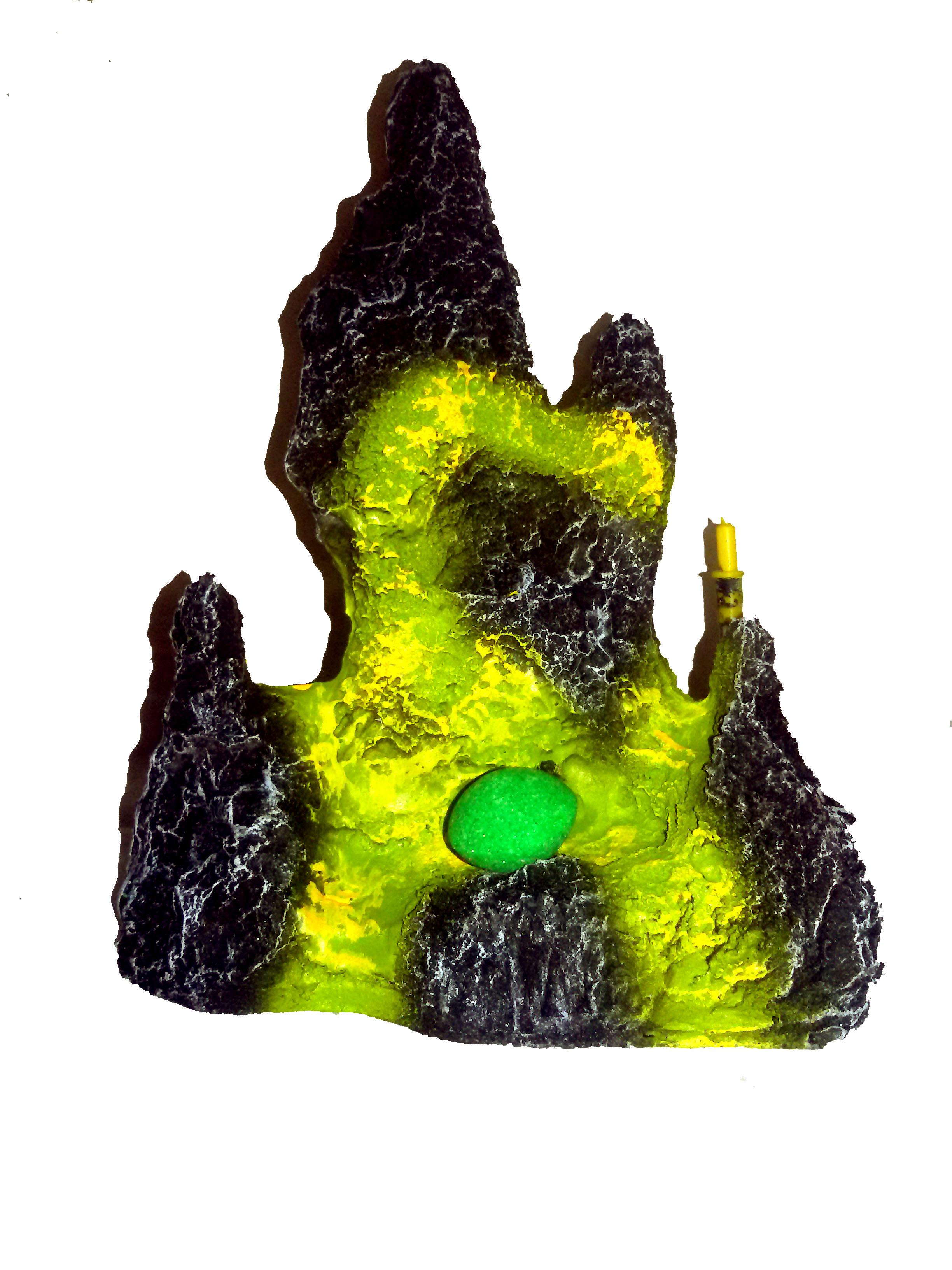 Petsplanet Aquarium Fish Tank Mountain Decorative toy - BLACK & GREEN