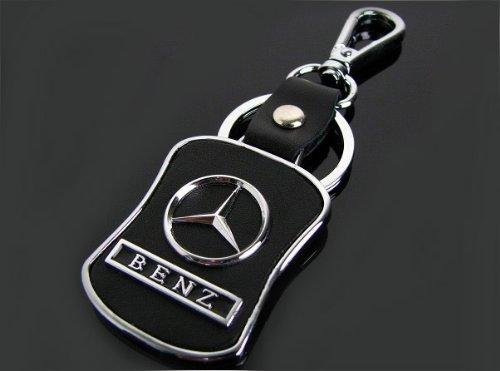 Mercedes black leather keychain for Mercedes benz keychain