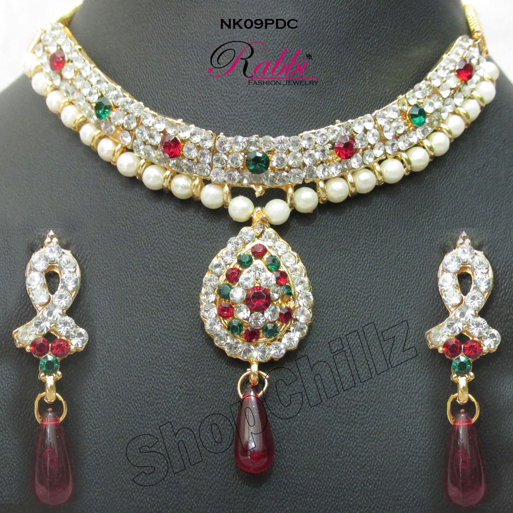 Pearl Diamond with Chain Necklace Set NK09PDC available at ShopClues for Rs.229