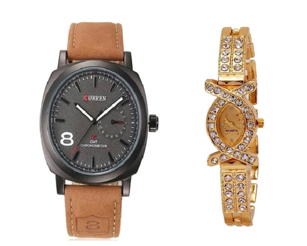 Curren Brawn Belt Men and AKS Women Watches  Couple for Men and Women by miss