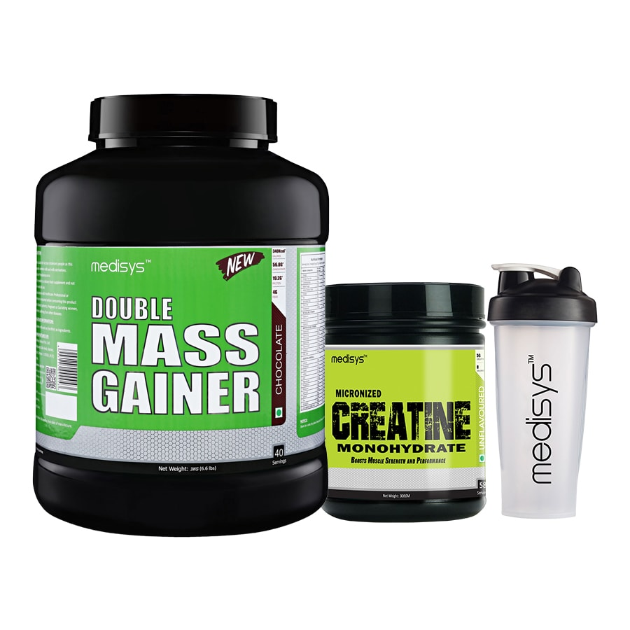 Muscle Pump Stack Double Mass Gainer - Chocolate 3Kg+Creatine Free-Shaker