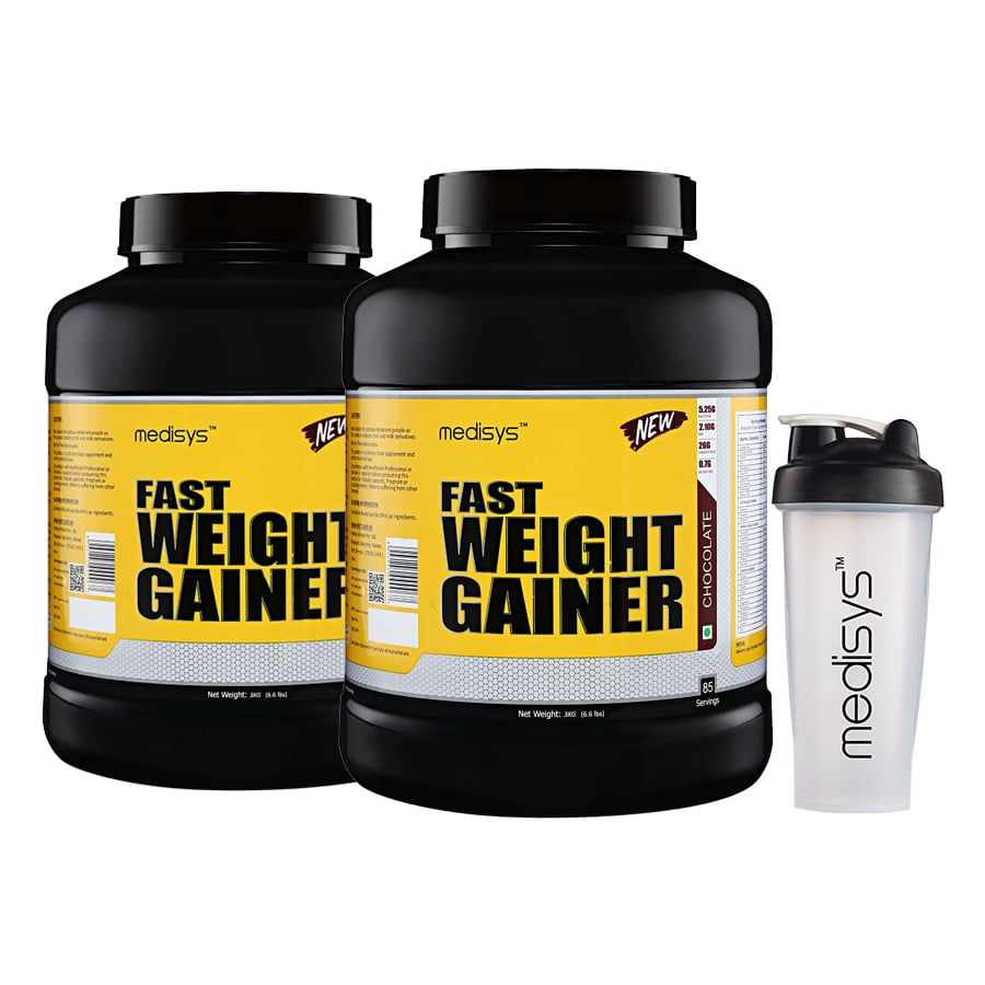 Medisys Fast Weight Gainer Chocolate 3Kg-Pack of 2 Free Shaker