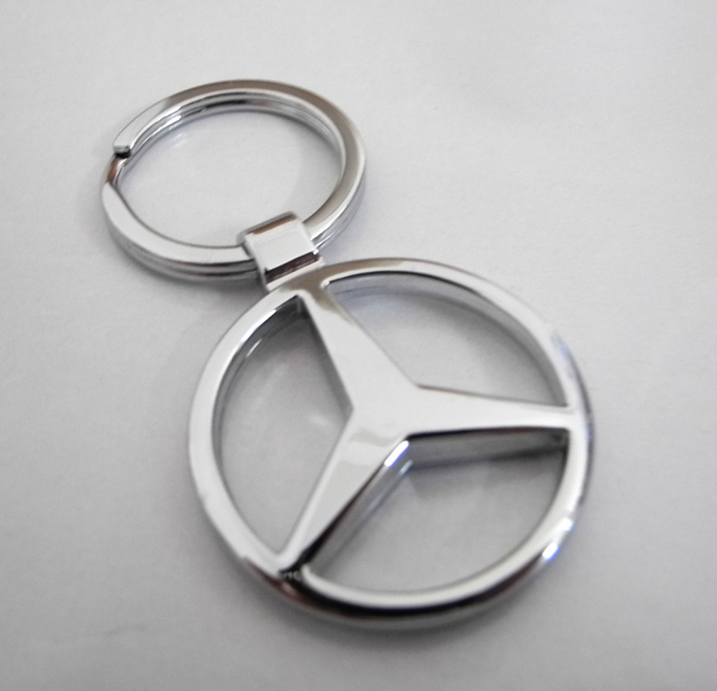 Mercedes benz heavy metal alloy chrome 3d key chain key for Mercedes benz key chain