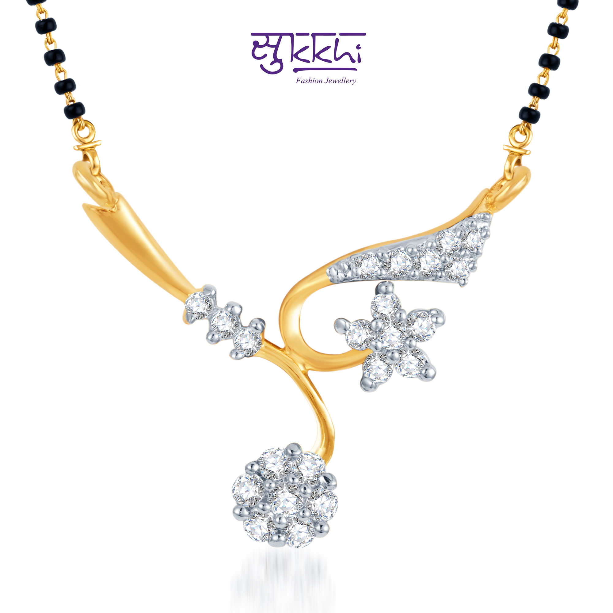 Sukkhi Elegant Wedding CZ Gold And Rhodium Plated Mangalsutra available at ShopClues for Rs.99