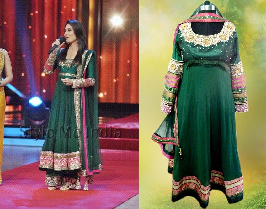 Buy Kareena Kapoor Green Art Silk Anarkali Suit ...  |Kareena In Green Anarkali Dress