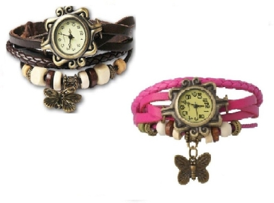 Butterfly ladies watch Combo Vintage Design Watches (BLACK  PINK) By miss
