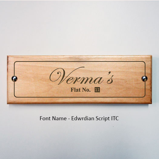 Personalized Laser Engraved Wooden Name Plate Edwrdian