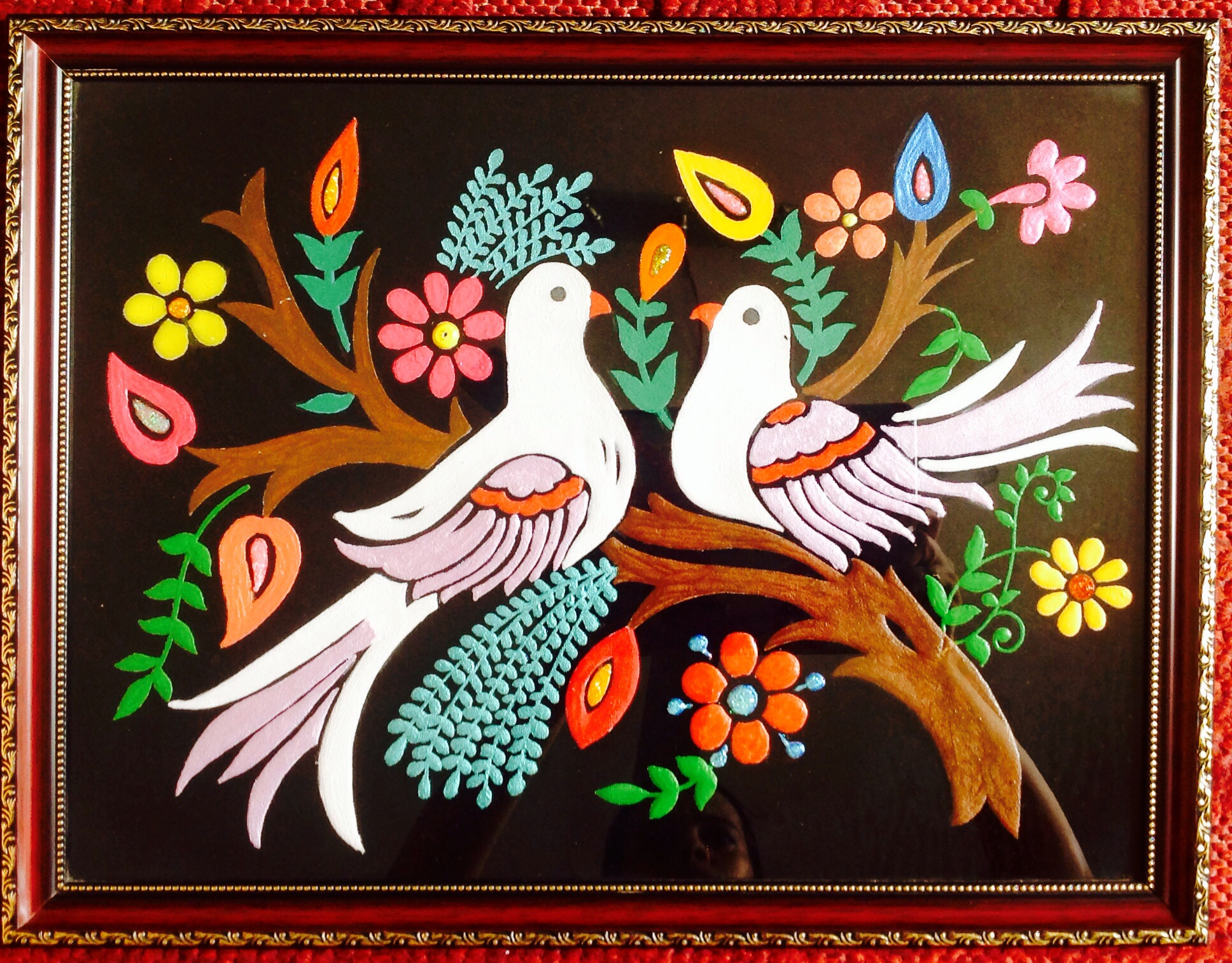 Love birds fabric emboss painting available at shopclues for Using fabric paint on glass
