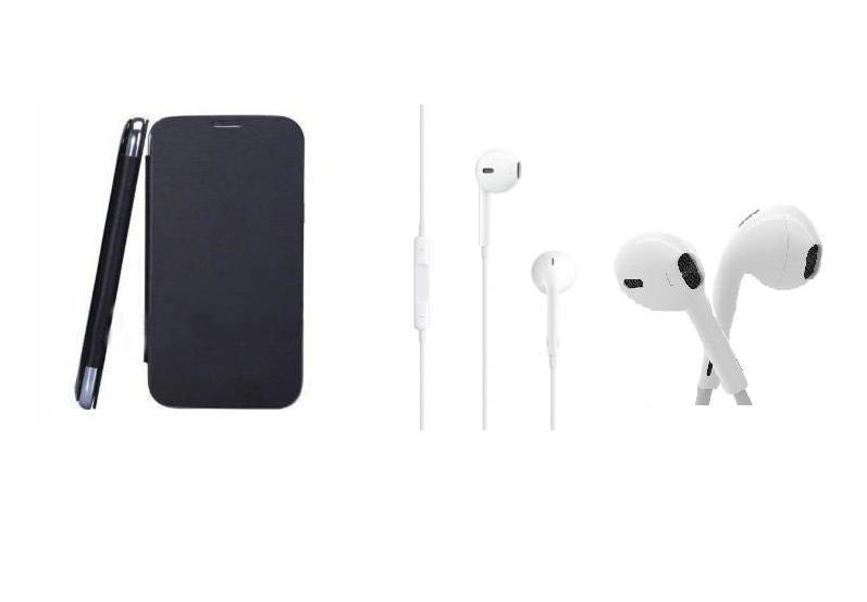 Ks Black Flip Cover And 35Mm Earpods Headphone Of Karbonn A50 Free Shipping available at ShopClues for Rs.499