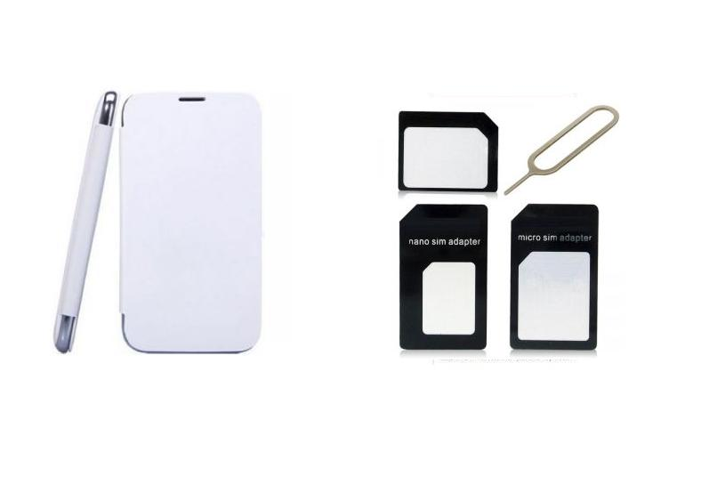 Ks White Flip Cover And Sim Adaptor Kit Of Karbonn A50 Free Shipping available at ShopClues for Rs.299
