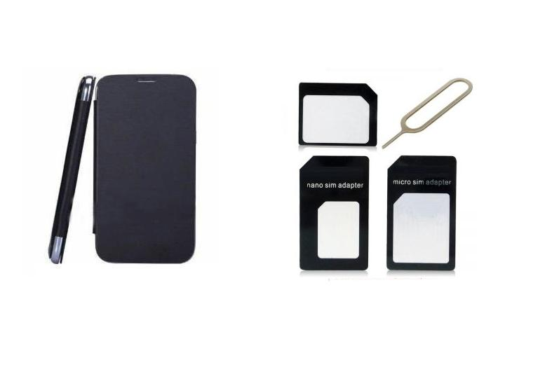 Ks Black Flip Cover And Sim Adaptor Kit Of Karbonn A50 Free Shipping available at ShopClues for Rs.299