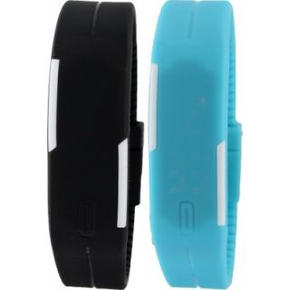 Branded very slim attractive LED band S2S watch for boys Girls(black+blue) by o