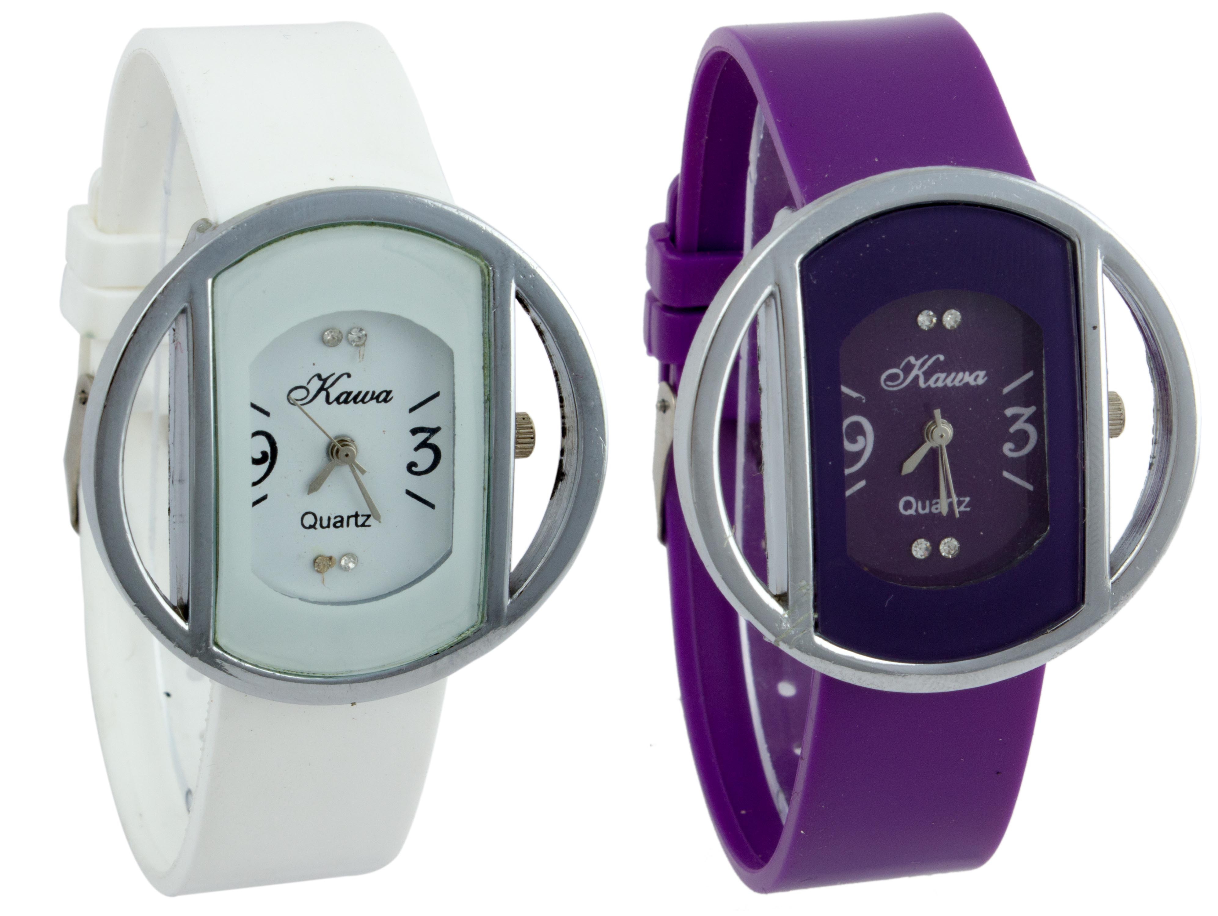Glory Combo of Two Kawa Circular Silver Case Watches by 7Star
