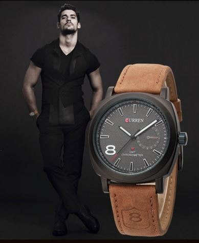 Curren Mens Watch with leather hand strap By 7Star