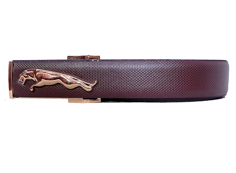 Men Jaguar Golden Buckle Formal, Casual, Party Brown Genuine Leather Belt
