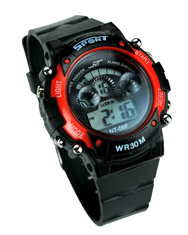 Sport Black And Red Digital Kids Watch CC