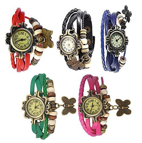Combo of 5 Different Color Deal2dil Butterfly Vintage Watches For Women, Girl A
