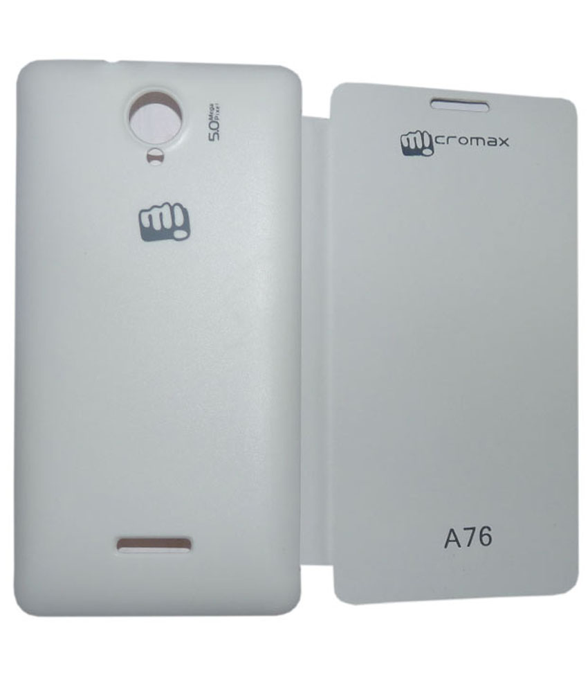 Evoque Premium Leather Flip Cover For Micromax Canvas Fun A76  White available at ShopClues for Rs.199