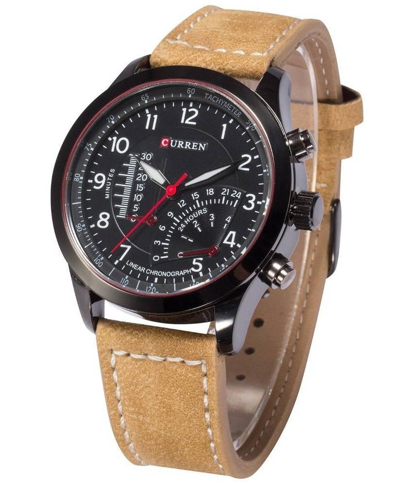 Curren Tan Leather Analog Watch la