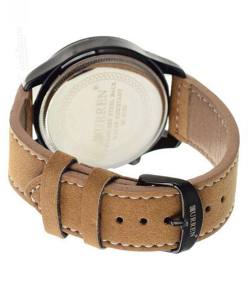 Curren Tan Leather Analog Watch lj